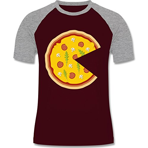 Partner-Look Pärchen Herren - Pizza Pärchenmotiv Teil 1 - Herren Baseball Shirt Burgundrot/Grau meliert