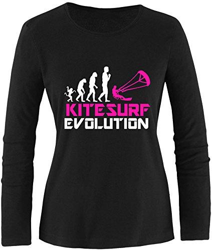 EZYshirt® Kitesurf Evolution Damen Longsleeve Schwarz/Weiss/Pink