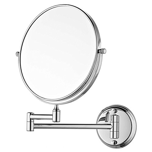 "SBD™ 8"" Makeup Mirror/ Shaving Mirror/ Bathroom Mirror with 10X Magnifying Mirror & Wall Bracket With Adjustable Frame (Series:- SILVER)"