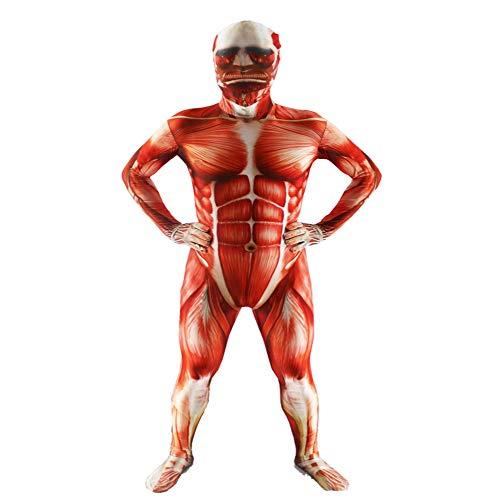 POIUYT Kinder 3D-Druck Cosplay Strumpfhosen Erwachsenen Riesenmuskeln Anime Kleidung Zentai All-Inclusive-Strumpfhosen Halloween Maskerade Kostüme,RedAdult-XL (Alle Jungen Halloween Kostüme)