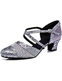 560f83805b9 MINITOO Ladies TH135 Sequin Cross Strap Pleather Wedding Ballroom Latin  Taogo Dance Pumps Shoes