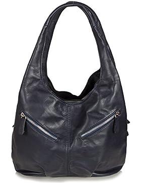 Handtasche Damen Hobo Bag | geräumige Damentasche aus Rindsleder | Beuteltasche Leder Damen | Nappaleder Tasche...