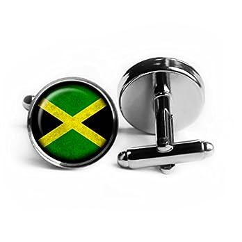 Jamaica Jamaican Flag Jamaikanische Flagge Rhodium Silber Manschettenknöpfe