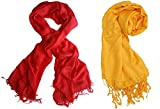 #3: Nikita Crepe Red & Yellow Colour Scarf For Women's