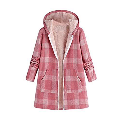 Damen Jacken Mantel Vintage Winter warm Outwear Knopf Print Pocket Hooded Verdickung Plüsch Parka Overcoat Top Hoodie Plus Verdicken Plaid Retro Jacket Sweatshirts Kapuzenpullover Kapuzenjacke Bluse