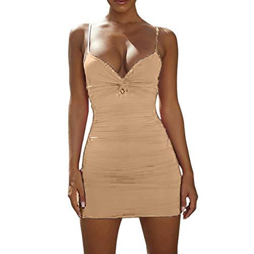 Amlaiworld sexy Kleider Damen Party Damen Frühling und Sommer Sexy Low-Cut Tiefem V-Fold Sling Openwork Hip Dress