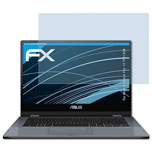 atFolix Schutzfolie kompatibel mit Asus VivoBook Flip 14 TP412UA Folie, ultraklare FX Bildschirmschutzfolie (2X)