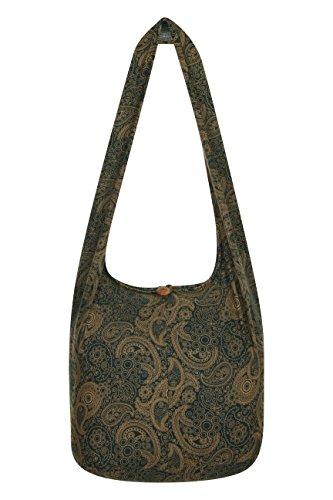 ThaiUK Damen Hippie-Tasche mit Schulterriemen, Boho-Stil, 100 % Baumwolle Paisley Green Gold