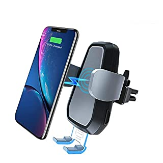 VANMASS Car Wireless Charger Mount, 2 in 1 Auto-Clamp Car Phone Holder, Dashboard & Air Vent Compatible with Samsung S9 / S8 / S7 Edge/Note 9, iPhone XS/X / 8/8 Plus, Blackview BV 9500