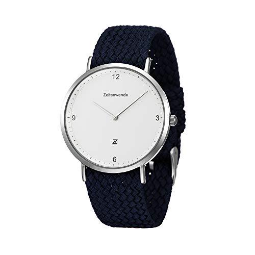 Zeitenwende minimalistische Herren-Uhr Männer Quarz Uhrwerk mit stufenlos einstellbarem blauen Perlon-Armband und Schweizer Uhrwerk