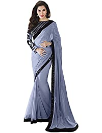 Brahmani Fashion Women's Grey Colored Party Wear Georgette Embroidery, Lace Work Saree With Blouse Pis