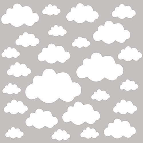 PREMYO 25 Nubes Pegatinas Pared Infantil - Vinilos Decorativos Habitación Bebé Niños - Fácil de Poner Blanco