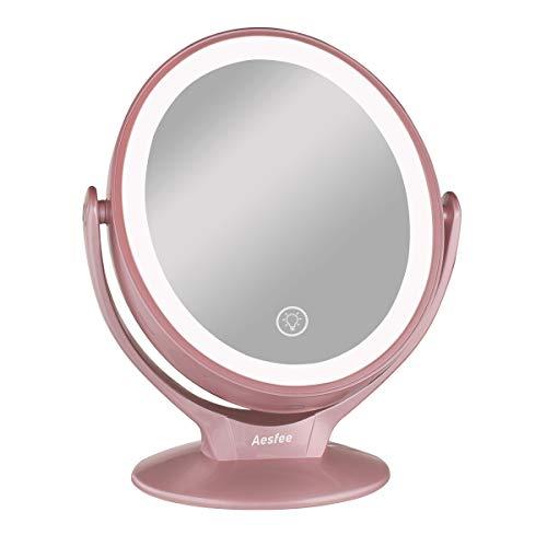 Miroir Maquillage avec 21 Lumineux LED, Miroir Grossissant 1x / 7x Miroir Vanité Maquillage à Double Face Rotation à 360° avec Écran Tactile Lumières LED Dimmable, Miroir Cosmétique Portable USB Rechargeable pour Salle de Bain, Voyage, Rasage, Rose Gold