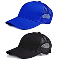 Lobeve 2 Pack of Ponytail Baseball Cap Hat Adjustable Mesh Trucker Ponytail Messy High Bun Hat-Blue