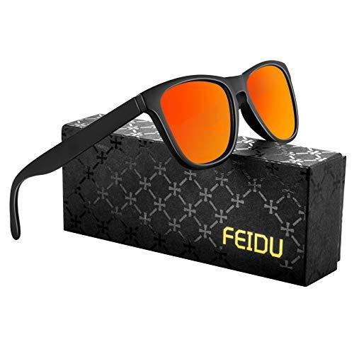 FEIDU Retro Polarisierte Damen Sonnenbrille- Herren Sonnenbrille Outdoor UV400 Brille,Farblinse, Strandreisen unerlässlich für Fahren Angeln Reisen FD 0628 (Orange, 60)