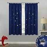 PONY DANCE Blickdicht Vorhang mit Kräuselband - Ausgestanzte Sterne Verdunklungsgardinen für Kinder Junge Schlafzimmer Thermovorhänge, 1 Paar H 137 x B116 cm, Blau
