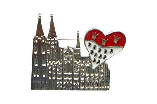 Makotex Herren Damen Brosche ~ Dom mit Herz-Wappen ~ aus Zinklegierung & Eisen Anstecker Kölner Dom Karneval Köln Kostüm -