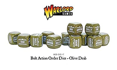 Commandes Bolt Action Dice - Olive Drab (12) WGB.DICE.17 - Warlord Games