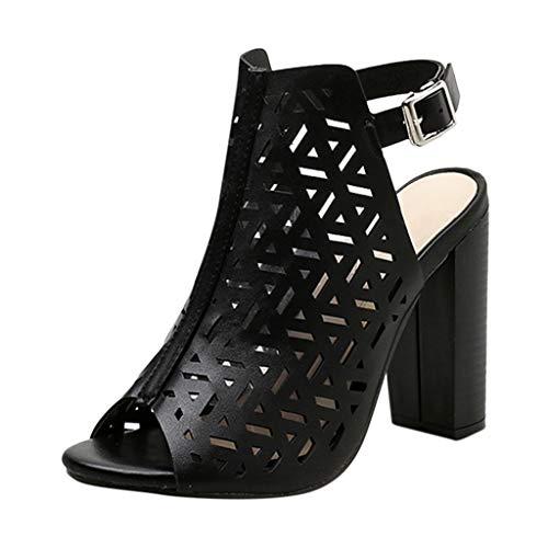 iLPM5 Damen Sommer Retro Mode Aushöhlen Peep Toe Schnalle Super High Heel Sandalen Freizeit Einfarbig Quadrat Ferse Sandalen