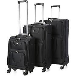 Aerolite Juego de 3 equipaje maleta ligera con 8 ruedas, Negro