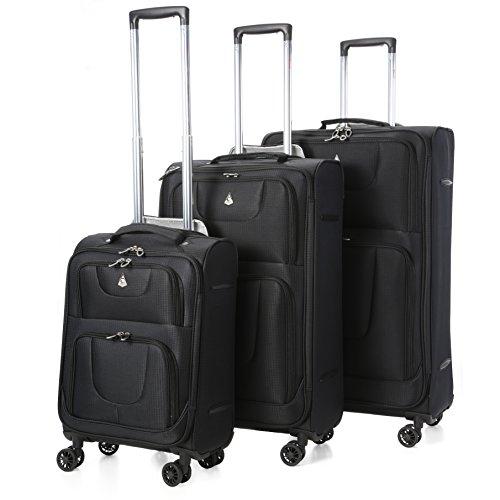Aerolite 9978 Ultraleggero, Bagaglio a Mano, a 8 Ruote, Colore Nero, Set da 3:  33 Litri, 68 Litri, 105 Litri