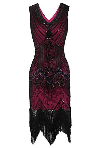 Gatsby Kleider 20er Jahre Ärmellose voller Pailletten/Spitzen Party Hochzeit Flapper Kostüm Kleid (Männer, Die In Den 20er Jahren)