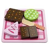 Fenteer Gâteau Coupe - Jeu D'imitation Cuisine en Bois Pretend Play Nourriture pour Bébé Enfants - Rose