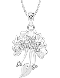 VK Jewels Delight Leaf Rhodium Plated Alloy CZ American Diamond Pendant With Chain For Women [VKP2627R]