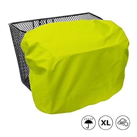 Extra große, wasserdichte Sicherheits-Regenhülle / Abdeckung für Fahrradkörbe - MadeForRain CityTurtle XL - Leuchtgelb