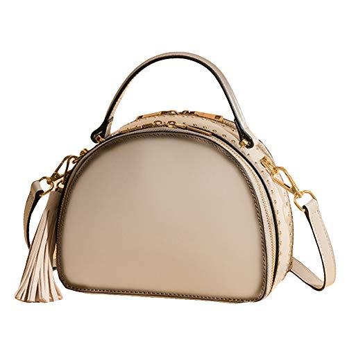 Frauen Halbkreis Totes Umhängetaschen Vintage Messenger Echtes Leder Schulter Handtaschen Sling Bag Niet Satchel Tassel Top Griff Geldbörse,Beige-23 * 10 * 17CM -
