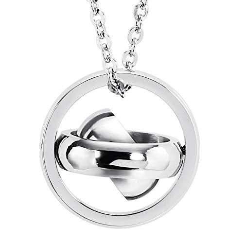 Beydodo Schmuck Edelstahl Halskette Anhänger Herren Pivot 3 Ringe Silberkette für Freunde -