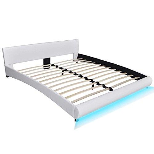 SENLUOWX Bett aus Kunstleder 180x 200cm weiß mit LED Leiste