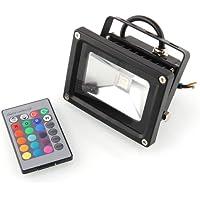 Amzdeal Faretto LED da Esterno RGB Funzione di Memoria IP65 10W 90-100 Lumen Basso Consumo 16 Colori Faro Esterno (Nero)