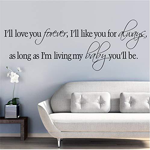 Ich werde Dich für Immer lieben, ich werde Dich für Immer inspirierende Zitate Wandkunst Aufkleber für Schlafzimmer Wohnkultur DIY Aufkleber Vinyl mögen