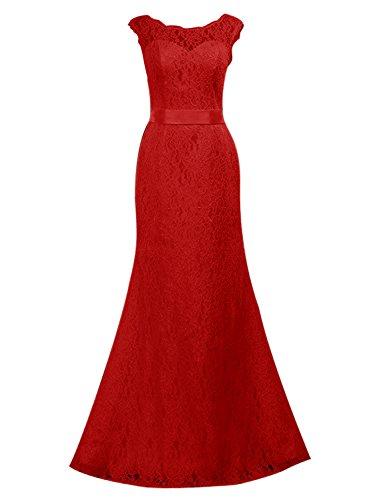 Find Dress Femme Elégant Sexy Robe de Soirée/Cocktail/Cérémonie Robe Forme Fourreau Longue sans Manches en Dentelle Rouge