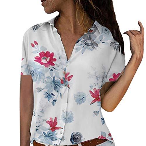 Diamant-streifen-shirt (ITISME FRAUEN BLUSE Damen Casual Langarm Farbblock Streifen Button T Shirts Tops Bluse)