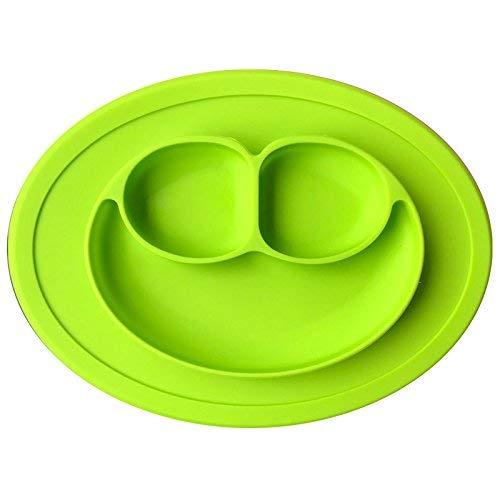 Tovaglietta con piatto per bambini, in silicone antiscivolo, effetto ventosa, vassoio con piattino per gli spuntini dei bambini