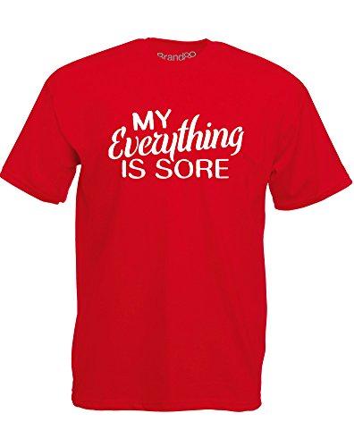 Brand88 - My Everything Is Sore, Mann Gedruckt T-Shirt Rote/Weiß