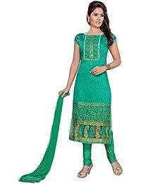 Manmandir Chanderi Silk Partywear Salwar Kameez Readymade with Leggings Bottom and Caps Sleeves