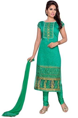 Manmandir Chanderi Silk Partywear Salwar Kameez Readymade with Leggings Bottom and Caps...