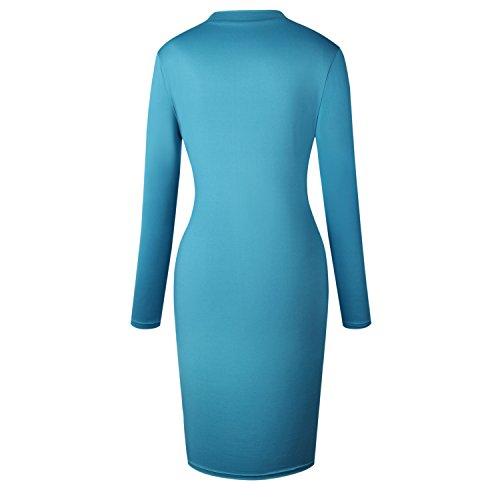 a Maniche Lunghe Collo Alto Floreale a Fiori ricami ricamato Midi Longuette Bodycon Aderente Fasciante Dress Vestito Abito Blu