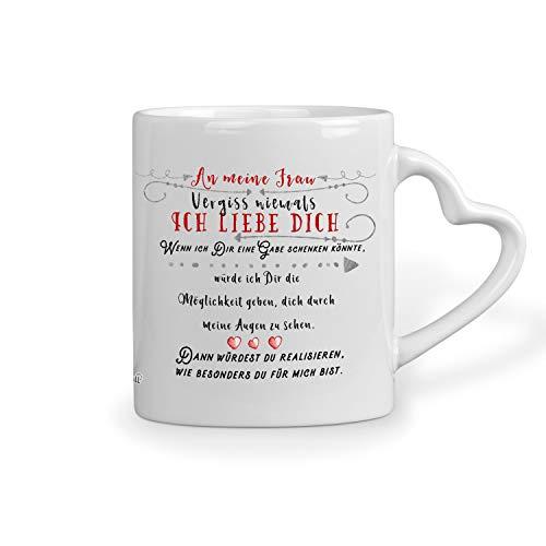 Sunnywall Liebes Herz-Tasse Liebesgeständnis Ich Liebe Dich Kaffeetasse, Valentinstag, Hochzeitsgeschenk gratis Geschenkkarte (An Meine Frau)