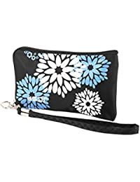 One Size , Black : Floral Pattern Detachable Strap Zipper Pouch Purse Bag Holder
