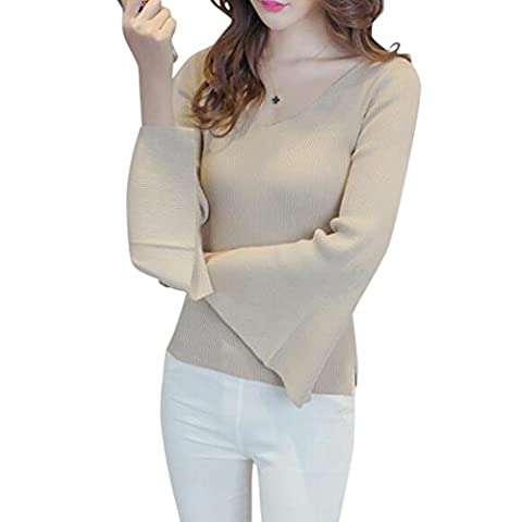 V-Neck Ribbed Knit Jumper , Women Split Sleeve Stretchy Knitted Jumper Casual Sweater Tops for Autumn Winter