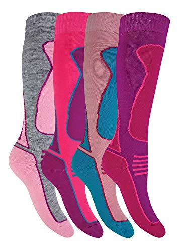 sock snob 4er Pack Kinder Jungen Mädchen Gepolstert Extra Warm Thermo Skisocken,Mehrfarbig, (27/30, SL202 Girls)