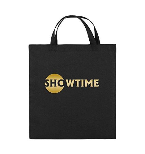 Buste Comiche - Showtime - Miliardi - Borsa In Juta - Manico Corto - 38x42cm - Colore: Nero / Argento Nero / Oro