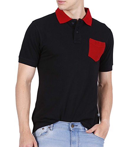 Fanideaz Men's Half Sleeve Cotton Solid Polo Tees for Men Black M