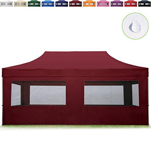 TOOLPORT Faltpavillon Faltzelt 3x6m - 4 Seitenteile ALU Pavillon Partyzelt rot Dach 100% WASSERDICHT