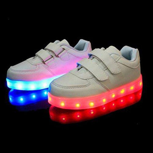 [Present:kleines Handtuch]JUNGLEST® Unisex Kids Wiederaufladbare LED leuchten Sportschuhe Luminous Flashing Glow Turnsc Weiß