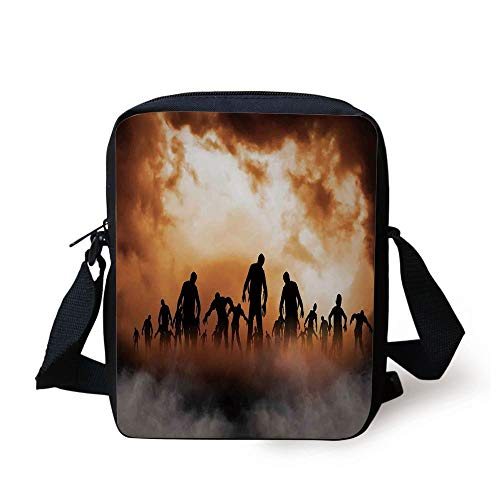 Halloween Decorations,Zombies Dead Men Body in The Doom Mist at Night Sky Haunted Decor,Orange Black Print Kids Crossbody Messenger Bag Purse